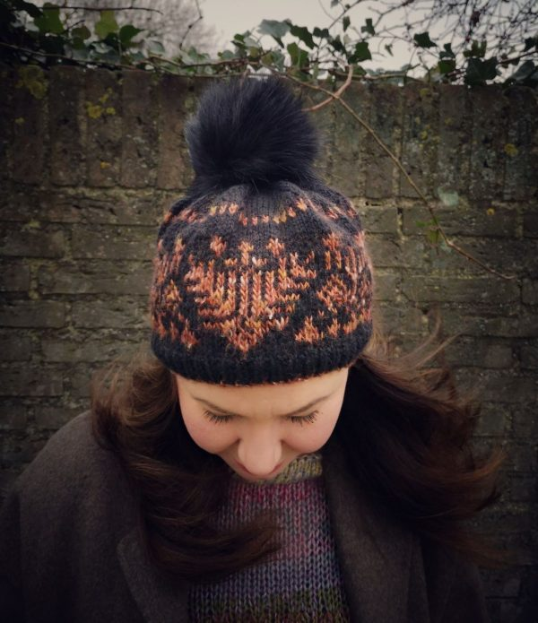 Front view of EMI hat worn by woman