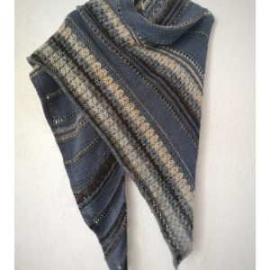 hand knitted shawl in blue colors
