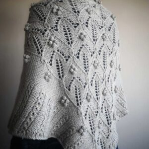 hand knit shawl with bobbles in gray