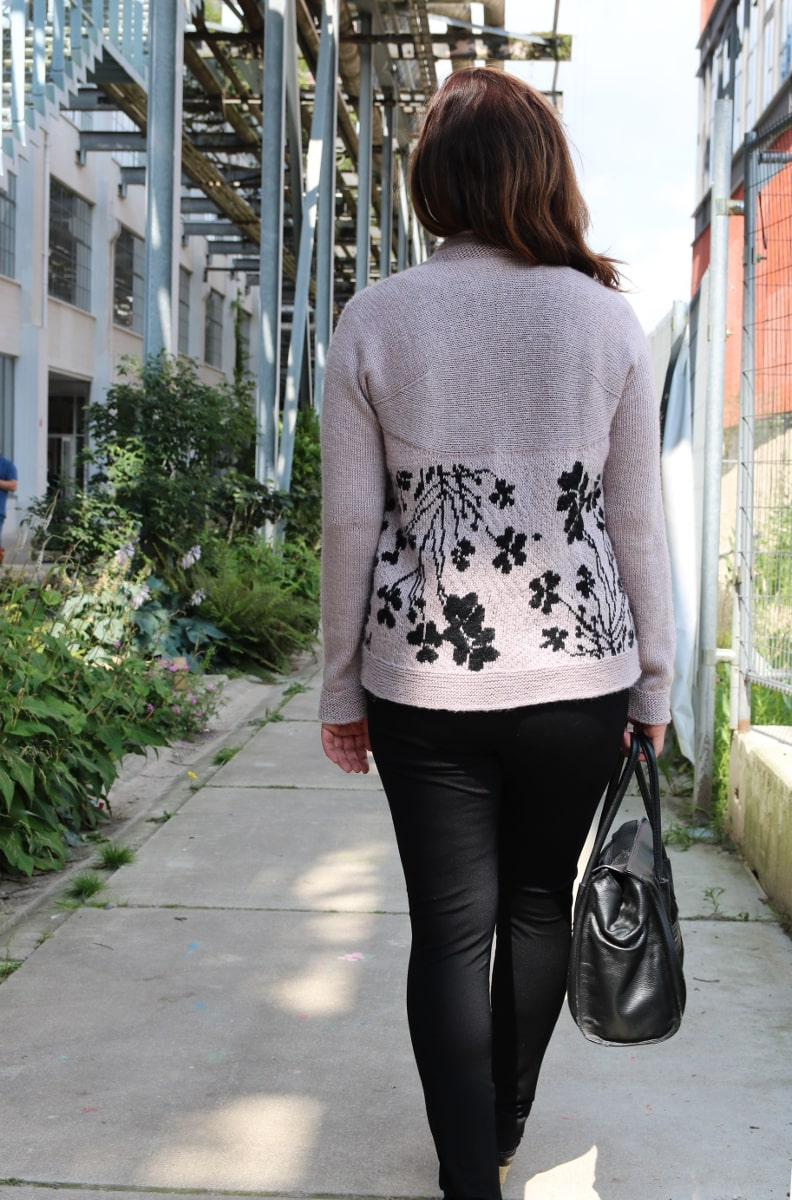 Clover cardigan from behind